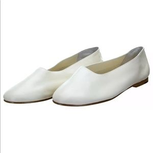 VINCE NY White Leather Flats Shoes NEW
